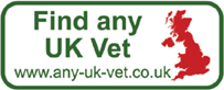 any-uk-vet animated logo: Reads www.any-uk-vet.co.uk, find a vet near you, find a vet's address, find a vet's phone number, find a vet's web site, find a vet's opening hours, find a vet's specialities, find a vet near you